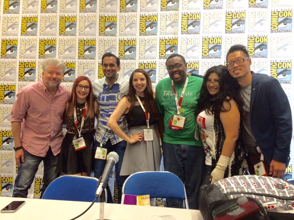 Left to Right: Chris Gore, Sam Maggs, Ali Mattu, Amy Ratcliffe, Andre Meadows, Ivy Doom Kitty, and Tony Kim