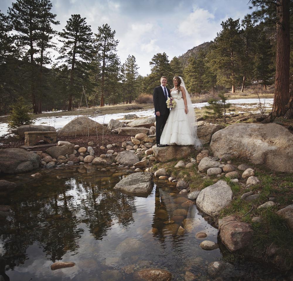 Bride and Groom at Della Terra Mountain Resort. Wedding beauty in Estes Park, CO.