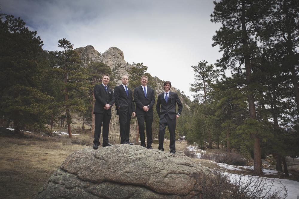 Groom and groomsmen at Della Terra Mountain Resort in Estes Park, Colorado. Wedding