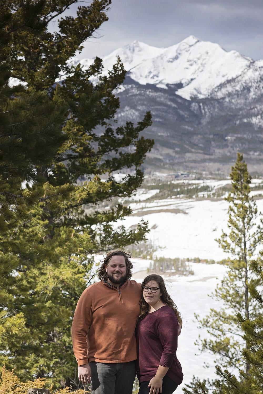 Portrait of couple above frozen Dillon Reservoir