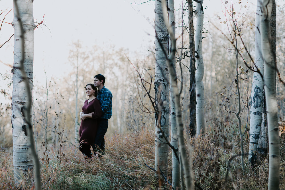 Engaged couple hugging among aspens and a meadow