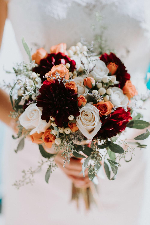 bride portrait Palisade Colorado flowers closeup