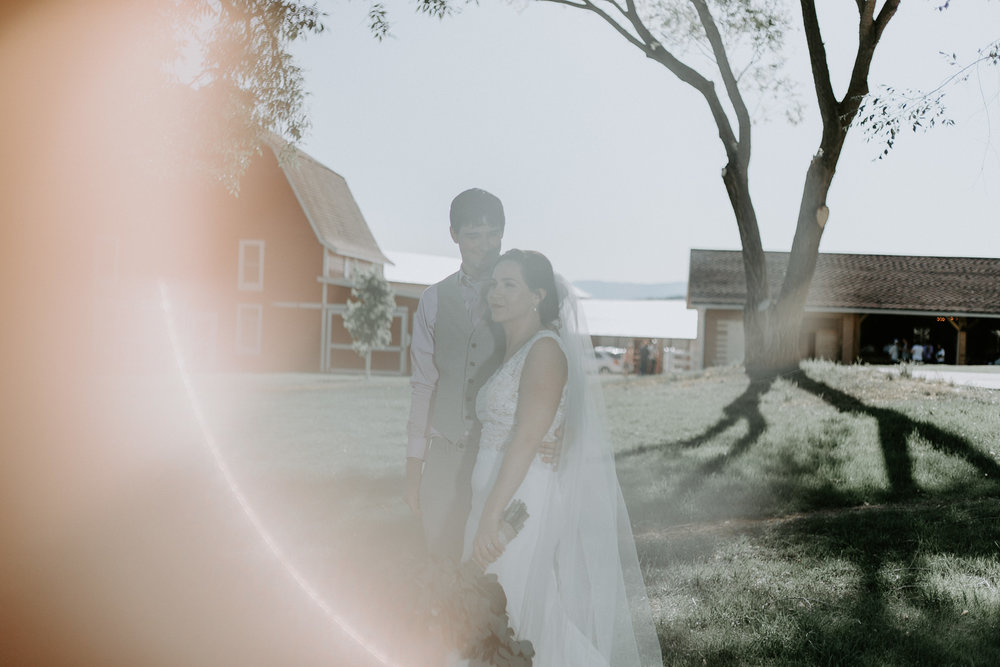Bride and groom with ring of fire surrounding them