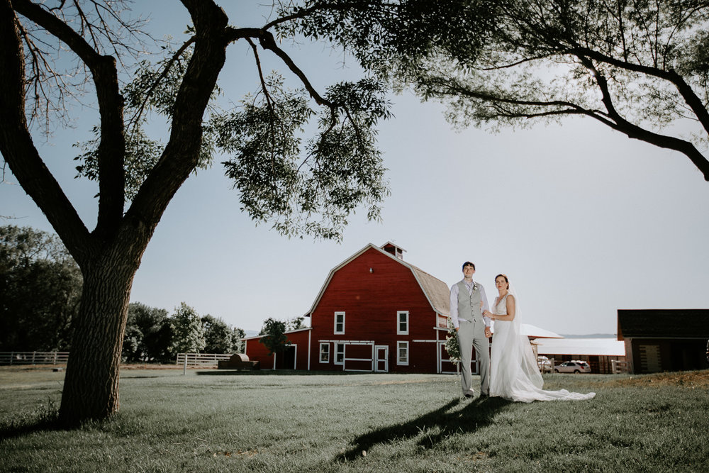 Wide angle of bride and groom holding hands with barn behind and trees surrounding them