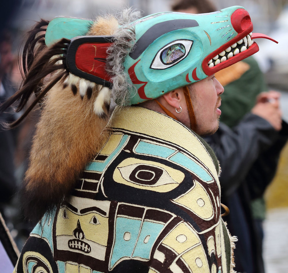 Alaskan Native regalia wolf hat Shakes Island Rededication Wrangell Alaska