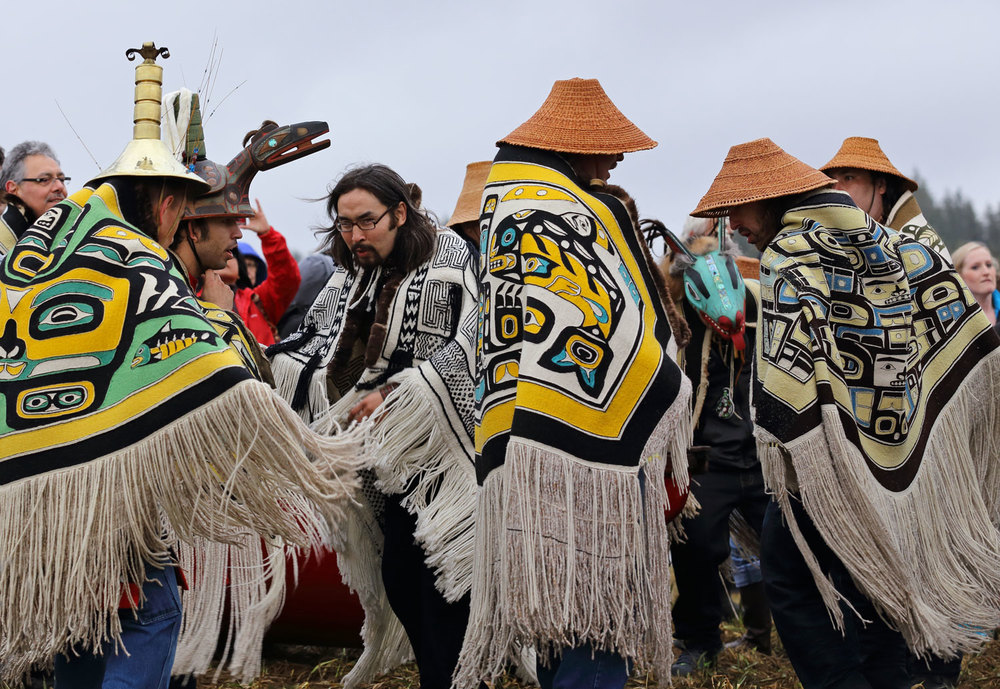 Alaska Native Elders and clan leaders dancing after the canoes landed on Shakes Island.