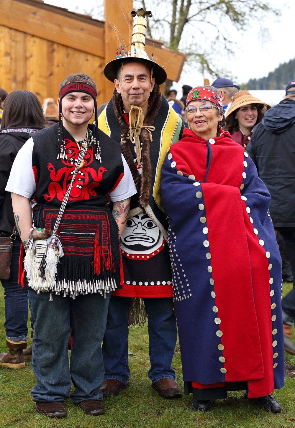 Alaska Native family in regalia