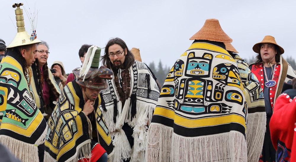 Alaska Native Elders and clan leaders dancing at Shakes Island in Wrangell.
