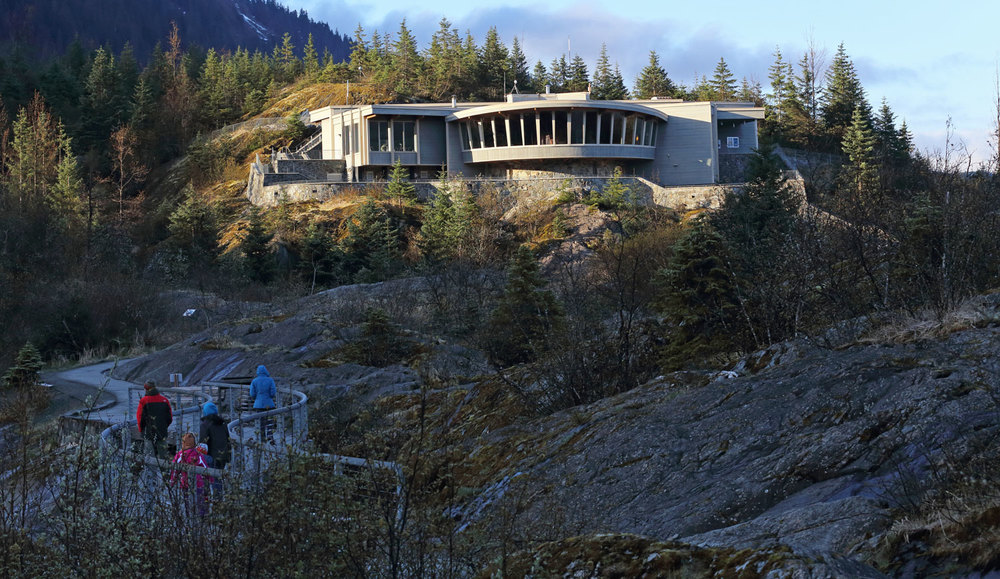 Mendenhall Glacier Visitor's Center on a chilly morning in the springtime.