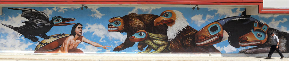 Mural by Bill Ray on Juneau City Hall.
