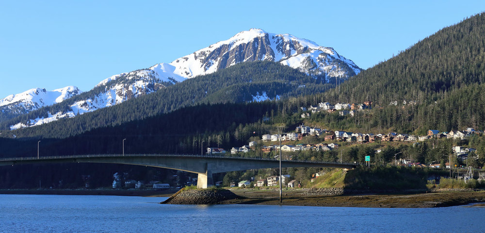 The Juneau-Douglas Bridge and West Juneau, with mighty Mount Jumbo behind.