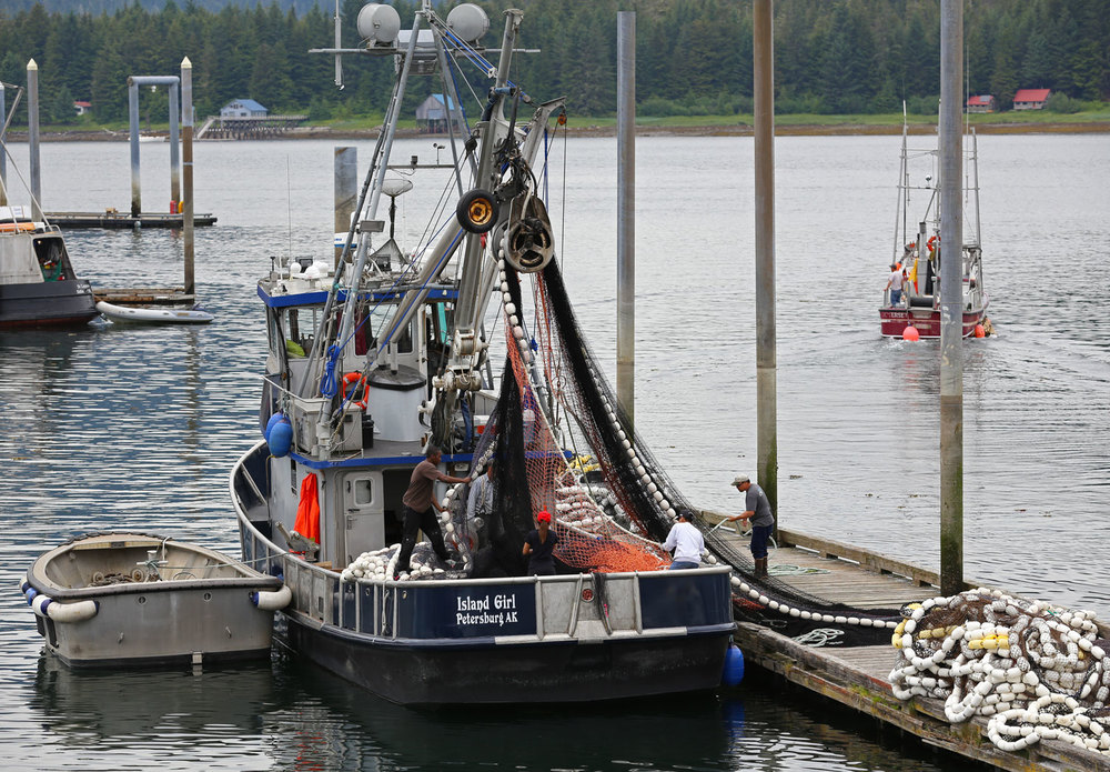 Five crew members stacking the net on the F/V ISLAND GIRL in Petersburg, Alaska.