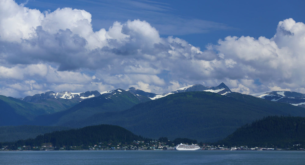 Looking back at Wrangell with a cruise ship in port.