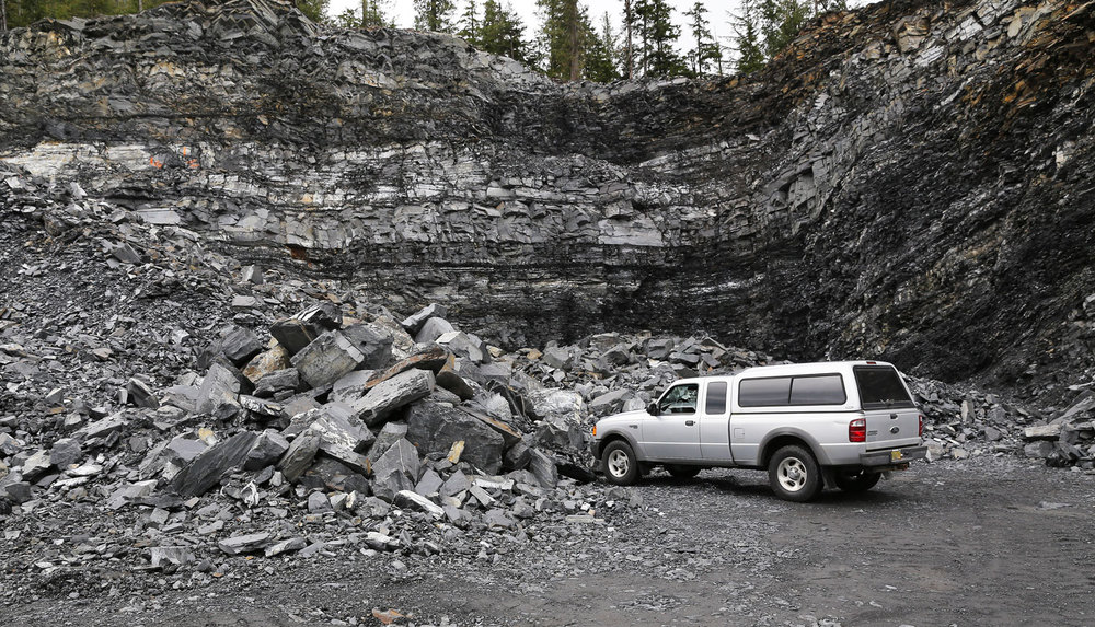 A local rock pit with potential stackwall rocks sorted off to the side. The Ford Ranger is just there for scale.