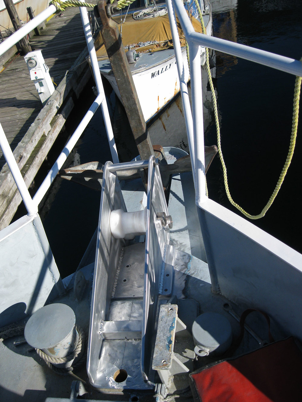 The bow roller before bolting and welding. The bowsprit will be shortened after the welding is done.