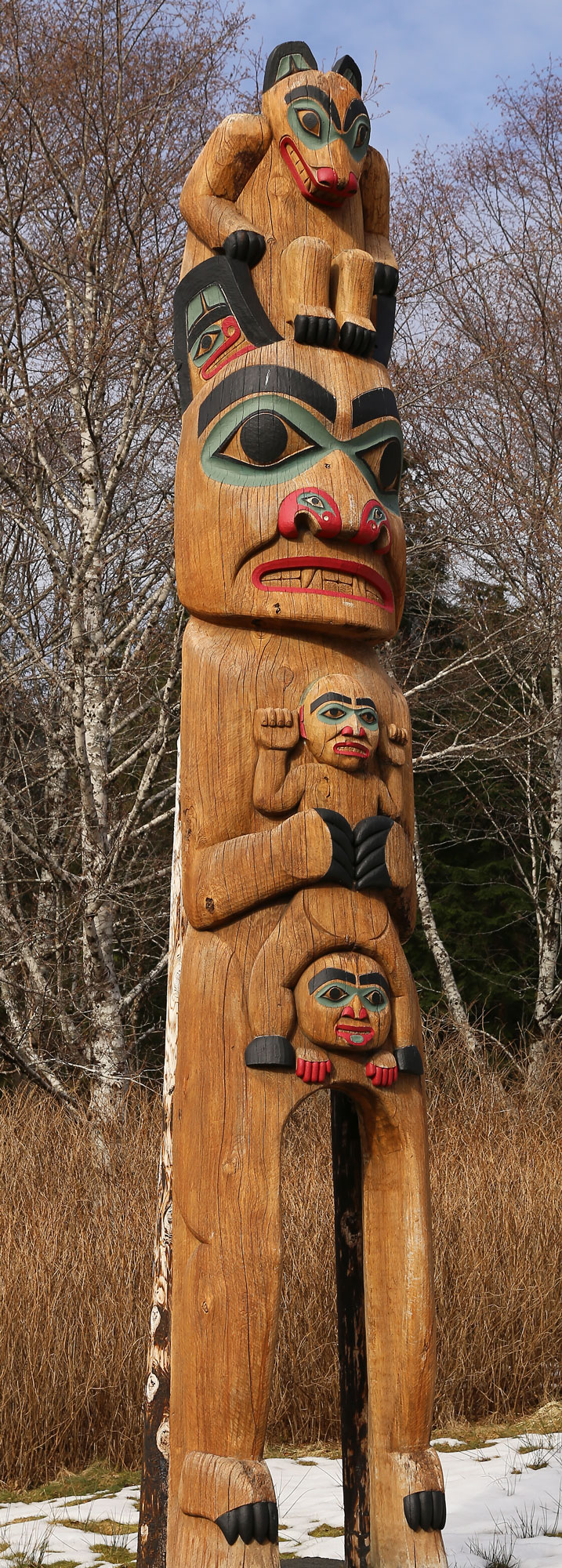 Totem pole Bear Saxman Native Village Alaska