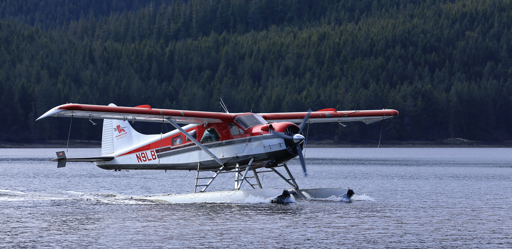 Promech Air's de Havilland Beaver taxiing to the dock in Thorne Bay, Alaska.
