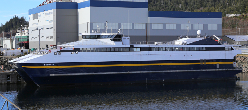 The Chenega is one of two fast ferries doing day trips in Southeast Alaska. This 235 foot (71 meter) catamaran carries 250 passengers and 35 vehicles at 32 knots (37 mph or 59 kph)