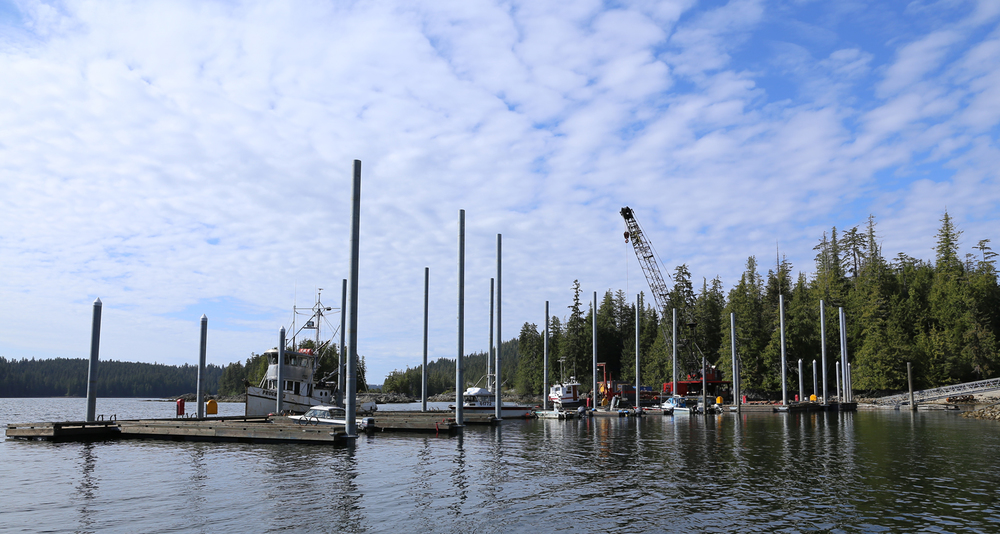 "The new dock in Naukati is pinned in place with 16"" and 18"" galvanized steel pilings set in solid rock."