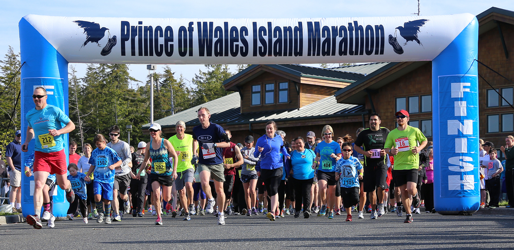 The start of the 15th Annual Prince of Wales Island Alaska Marathon