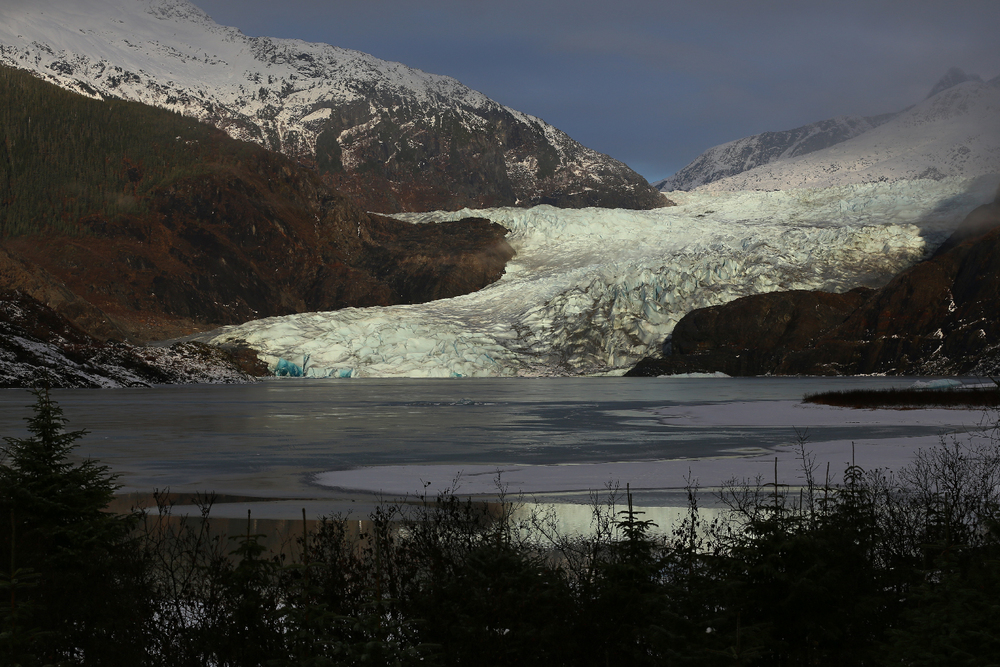 Juneau Alaska Mendenhall Glacier ice Mendenhall Lake mountains beautiful sunshine fog stunning