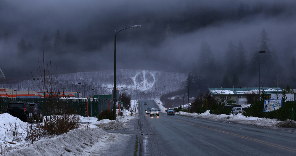 Juneau Alaska Peace Sign Commercial Boulevard Blvd Coscto road traffic cars snow