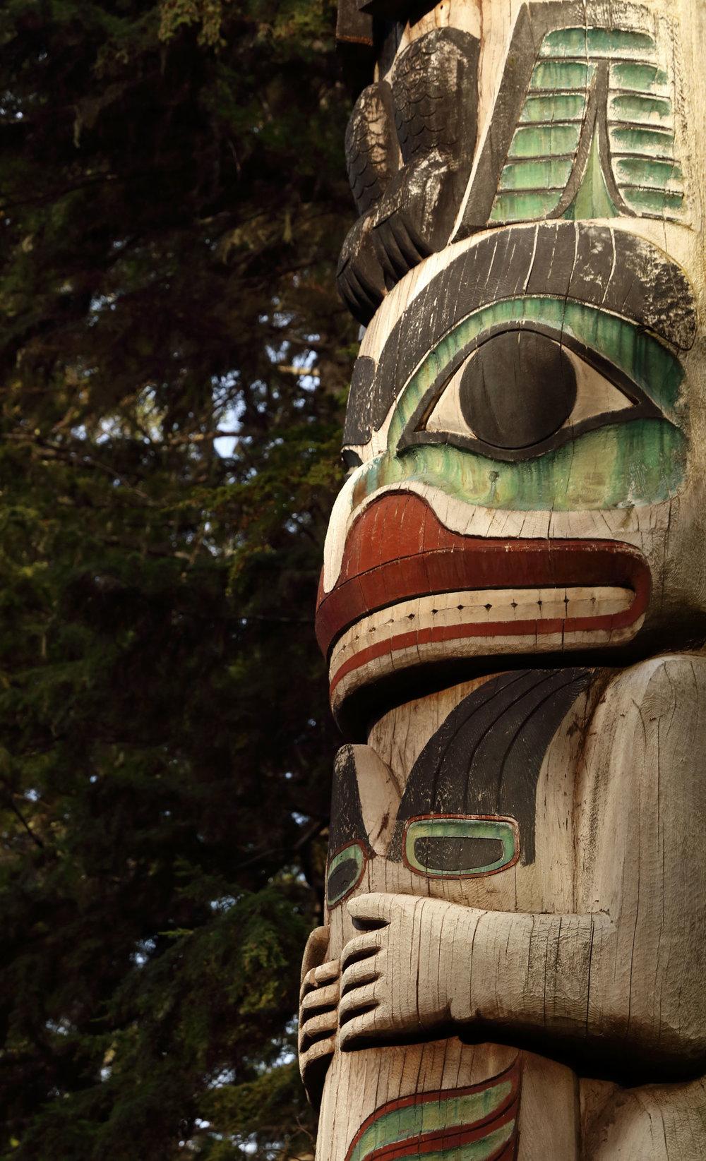 Haida totem pole Kasaan Totem Park Southeast Alaska Prince of Wales Island