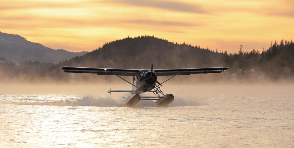 de Havilland Beaver Floatplane Airplane landing in mist at Thorne Bay Southeast Alaska