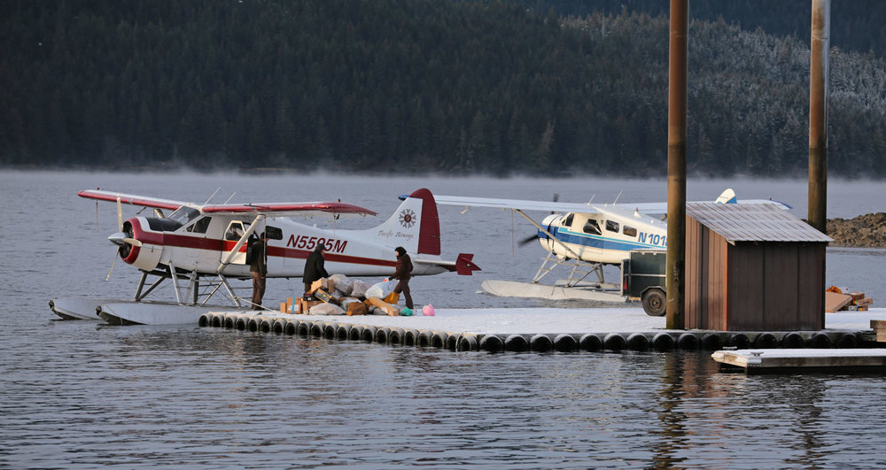 Thorne Bay Alaska floatplane dock with crew handling freight and de Havilland Beaver airplanes