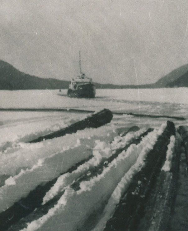 Sweetbriar breaking ice in Hood Bay winter of 1950
