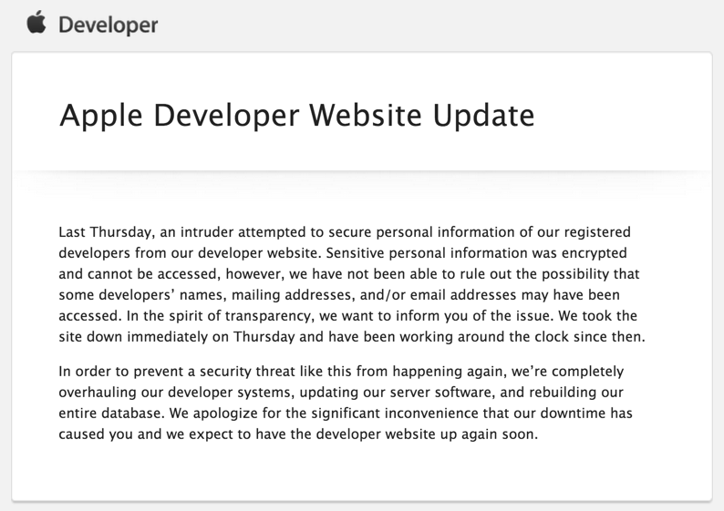 Email sent to Apple Developers