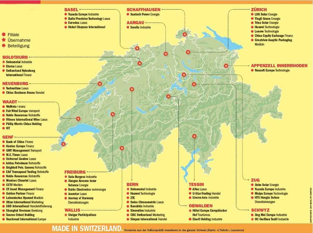 Map showing Chinese acquisitions in Switzerland (Source: L'Hebdo and Workzeitung)