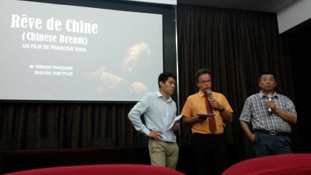 Left: François Yang presenting his film 'Rêve de Chine