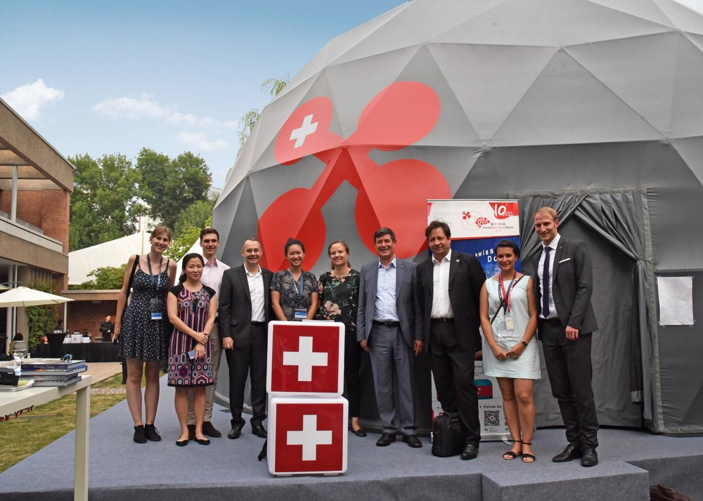 The swissnex team with Swiss State Secretary for Education, Research and Innovation Dr. Mauro Dell'Ambrogio, joined by Dr. Beatrice Ferrari, Mr. Jonas Thürig and Mr. Laurent Feuz.