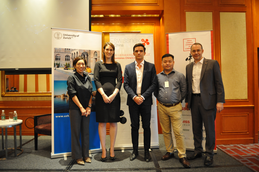 From left to right: Makiko Aikawa, Gianna Abegg, Quentin Reyes, Dr. Wei (Chris) Cheng and Dr. Felix Moesner.