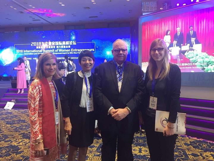Sophia Slingerland (Founder of Atelier Phi-i), Isabelle Yang (Founder and Former President of Sino-Swiss Women's Forum), Martin Bienz (Consul General of Switzerland in Guangzhou), Priska Furrer (swissnex China) (left to right).