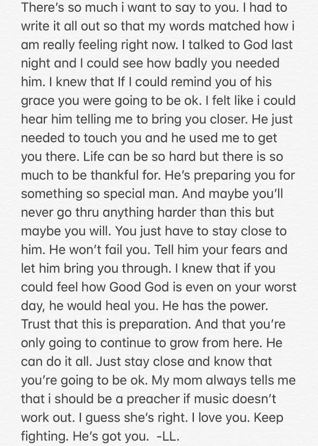 She took me to church & then wrote me this letter. I read it everyday.+