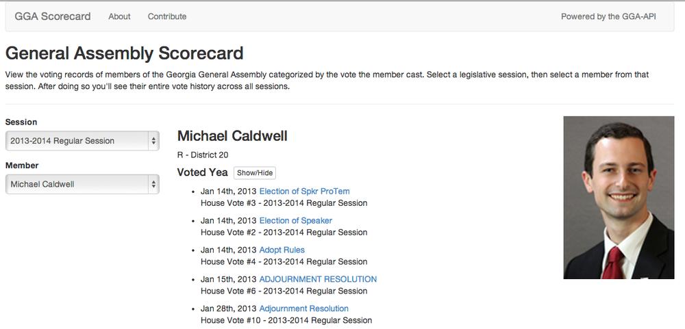A screen short of the GGA scorecard application.