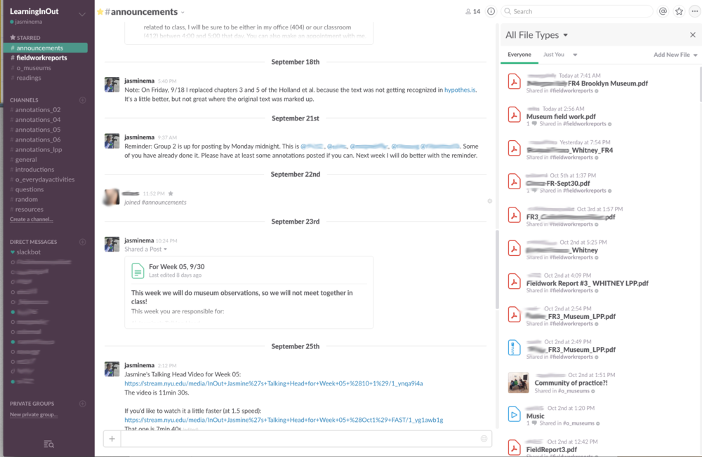 Slack #announcements channel screenshot