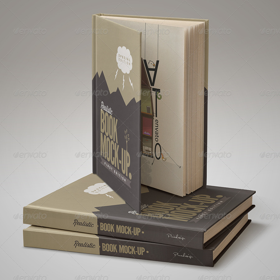 Hardcover Book Mock-Up Set by Pune Design.