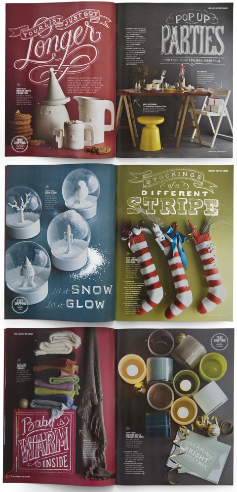 Chalk lettering spreads for West Elm by  Dana Tanamachi