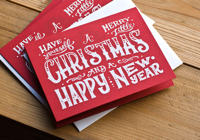 Hand-lettered, silk screened Christmas cards by Joel Felix