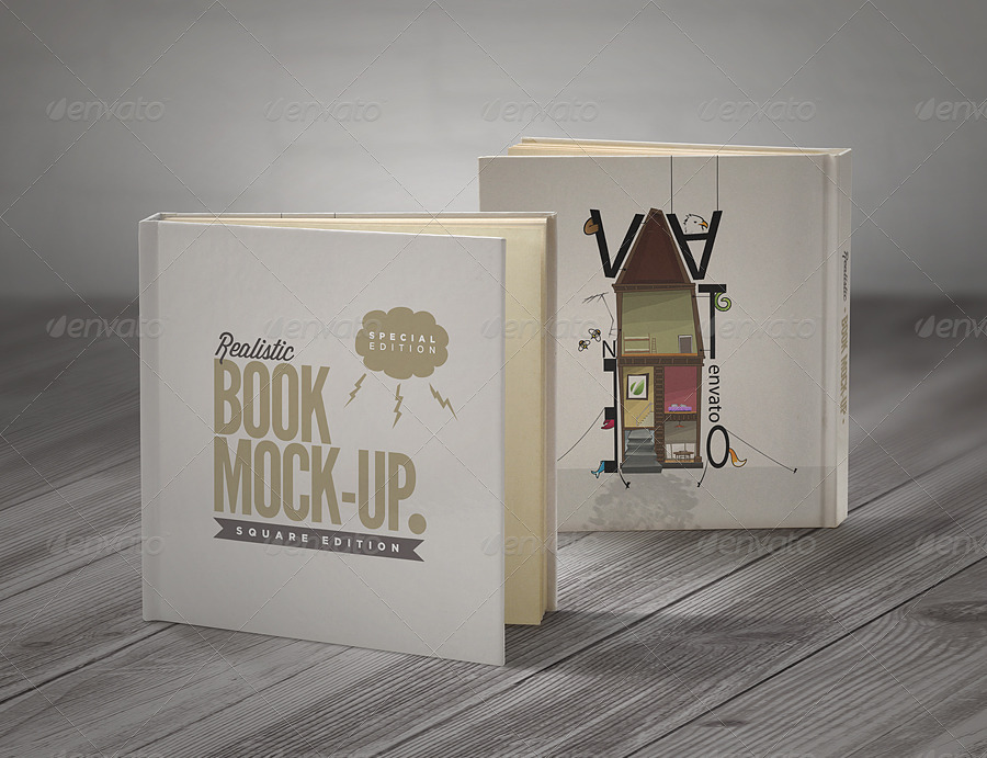9 high quality, fully layered mock-up PSD files to display your square book.