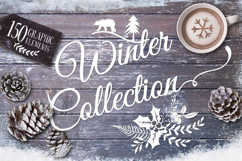 Winter Collection of Vectors, Patterns, Templates, etc.  ($25)