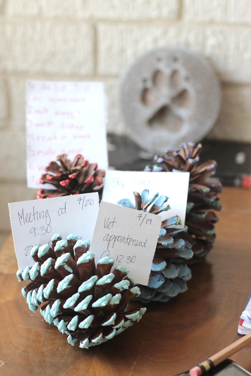 Pine Cone To-Do List Holders, DIY tutorial.