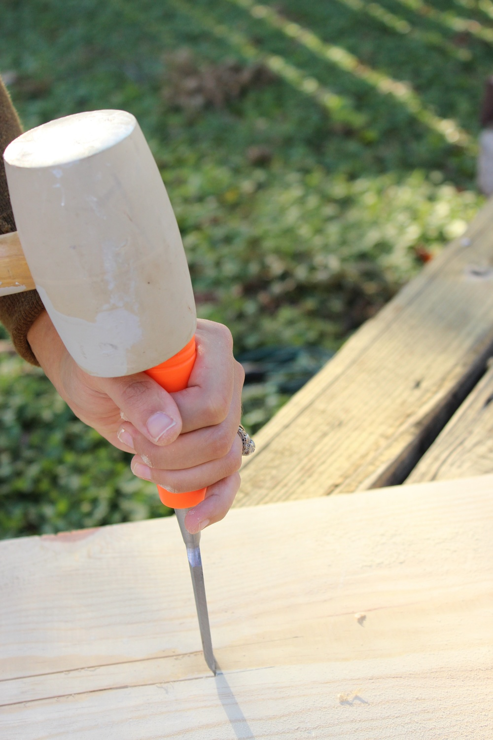 """Step 3: Use a chisel and a hammer along the ¾"""" marks to remove the rectangular piece. Discard these pieces."""