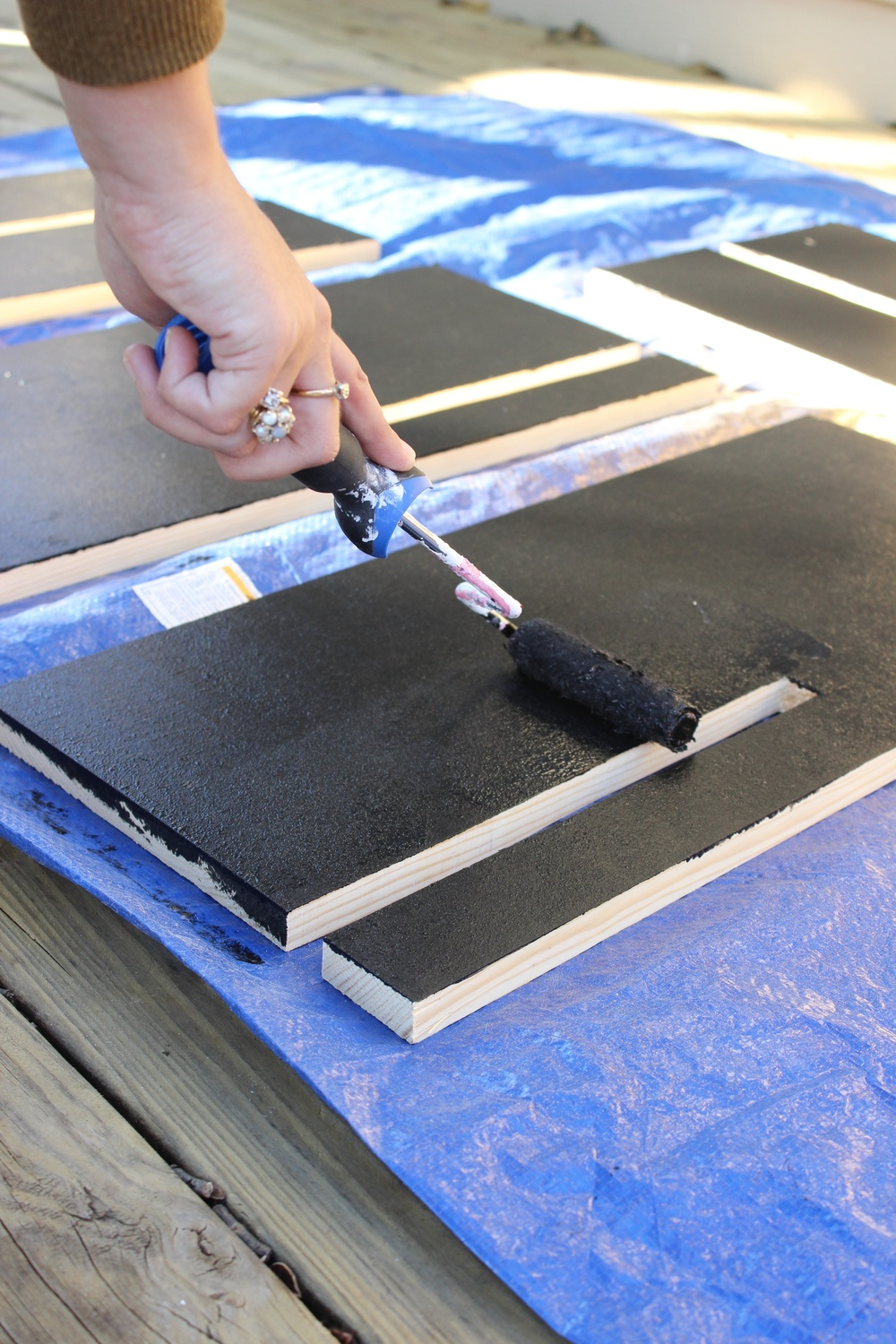 Step 4:  Give your cut boards a coat or two of black paint.
