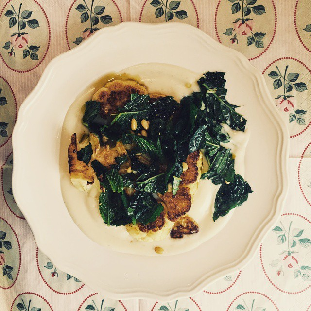 #MeatlessMonday #recipe on the blog: Cauli Steaks with Mash & Mint Gremolata. #vegetarian #vegan
