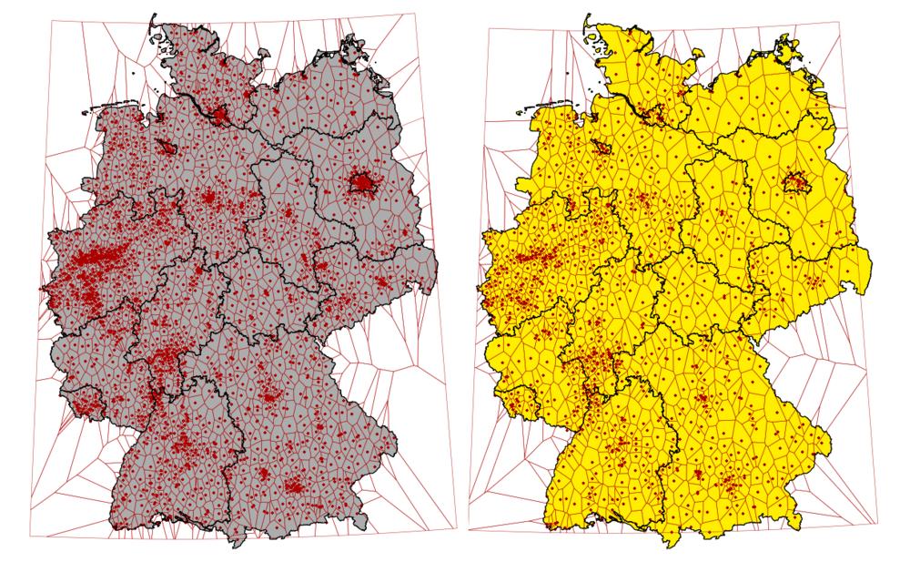Deutschland: Dichteverteilung und Voronoi-Polygone