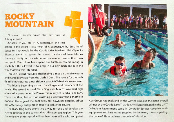 I was mentioned in the Fall 2012 USA Triathlon Magazine for the Rocky Mountain Region.